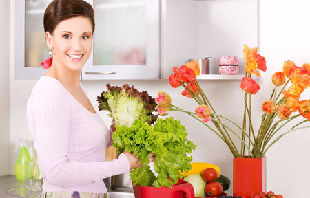 nice food: picture of beautiful woman in the kitchen