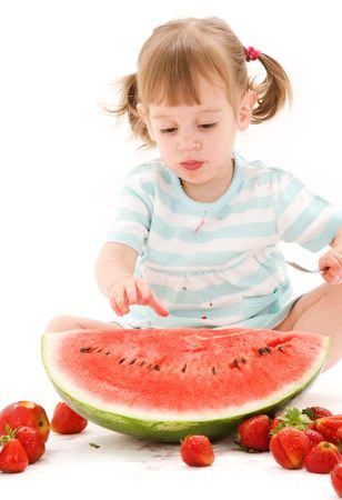picture of little girl with strawberry and watermelon photo