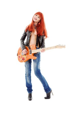 picture of lovely redhead girl with orange guitar Stock Photo - 5687145