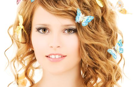 picture of teenage girl with butterflies over white Stock Photo - 5687157