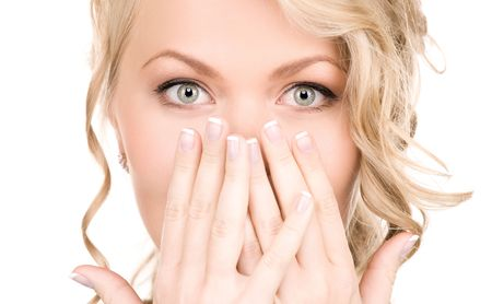 bright picture of surprised woman face over white Stock Photo - 5717933