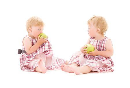 picture of two adorable twins over white photo