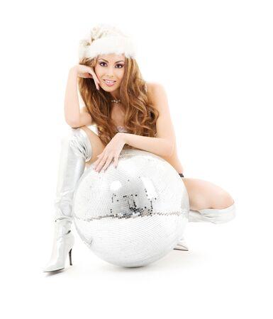 sexy santa girl: sexy santa helper with big disco ball over white