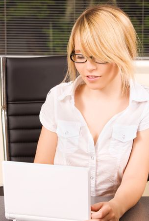 picture of office girl with laptop computer Stock Photo - 5741492