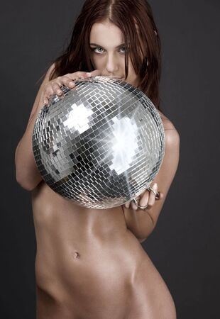 nude babe: picture of beautiful naked woman with disco ball