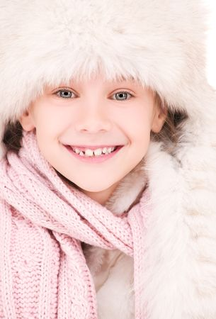 picture of happy girl in winter hat Stock Photo - 5744736