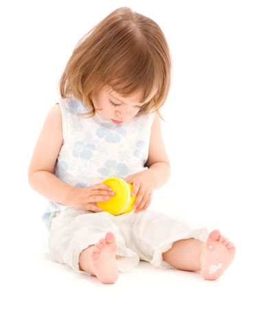picture of little girl with yellow modelling foam over white photo