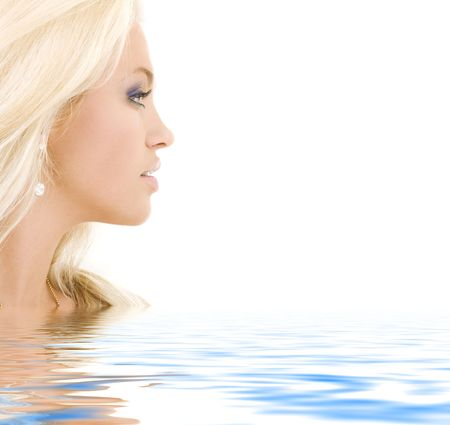 bright sideview picture of lovely blonde in water photo