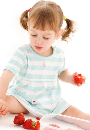 picture of little girl with strawberry over white photo