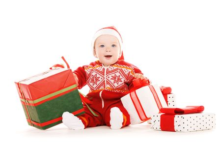 santa helper baby with christmas gifts over white Stock Photo - 5772003