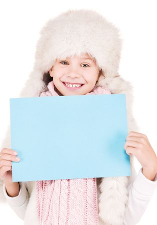 happy girl in winter hat with blank board Stock Photo - 5772024