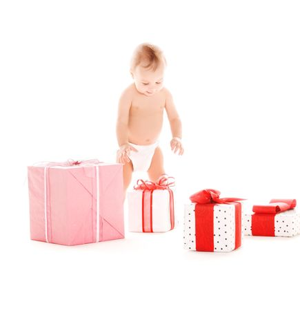 picture of baby boy with gifts over white Stock Photo - 5790318