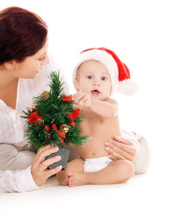baby and mother with christmas gifts  over white Stock Photo - 5790321