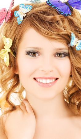 picture of teenage girl with butterflies over white photo