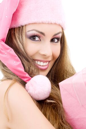 picture of happy santa helper with gift box photo