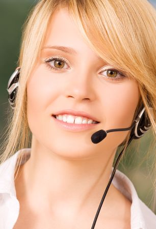 bright picture of friendly female helpline operator Stock Photo - 5813759