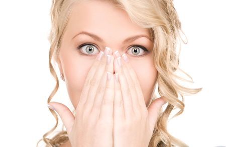 women face stare: bright picture of surprised woman face over white