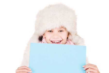 happy girl in winter hat with blank board Stock Photo - 5813755