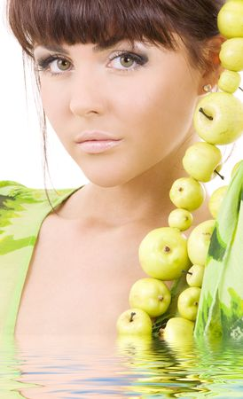 picture of beautiful woman with green apples in water Stock Photo - 5847716