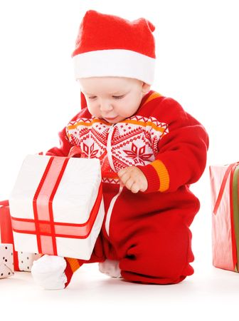 santa helper baby with christmas gifts over white Stock Photo - 5847688