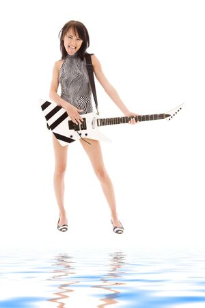 picture of girl with electric guitar over white photo