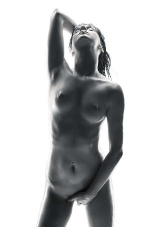 female nudity: picture of beautiful naked woman over white
