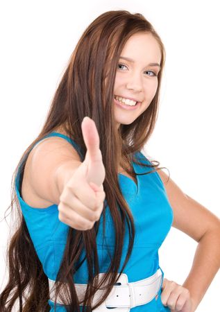 bright picture of lovely woman with thumbs up Stock Photo - 5882394