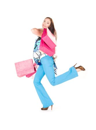 happy woman with shopping bags over white Stock Photo - 5882383