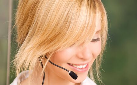 bright picture of friendly female helpline operator Stock Photo - 5882264