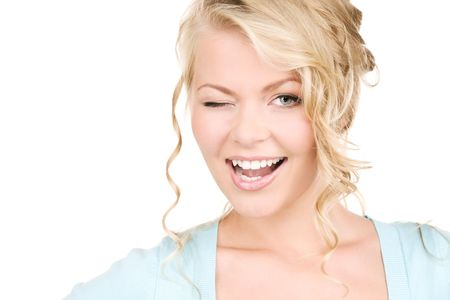 bright picture of winking woman over white photo