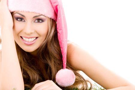 santas  helper: happy santa helper in pink hat over white Stock Photo