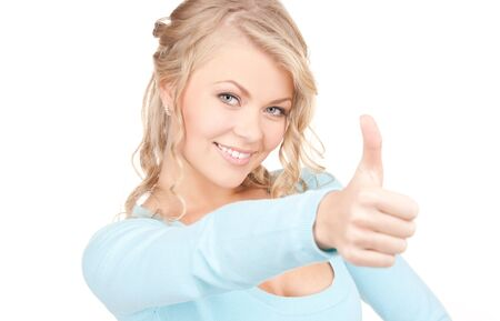 bright picture of lovely woman with thumbs up Stock Photo - 5891425