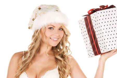 santa lingerie: picture of cheerful santa helper girl with gift box Stock Photo
