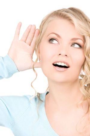 bright picture of young woman listening gossip Stock Photo - 5902500