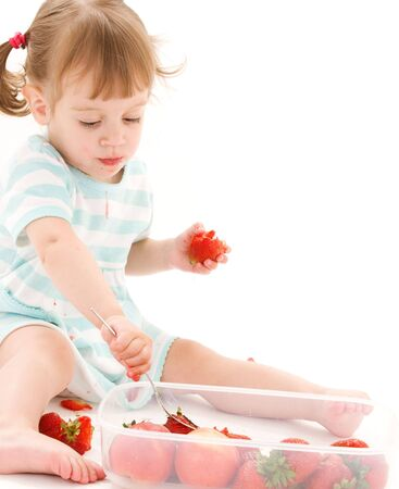 picture of little girl with strawberry over white Stock Photo - 5912654