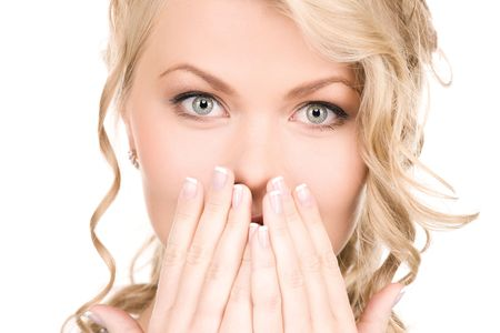 bright picture of surprised woman face over white Stock Photo - 5912634