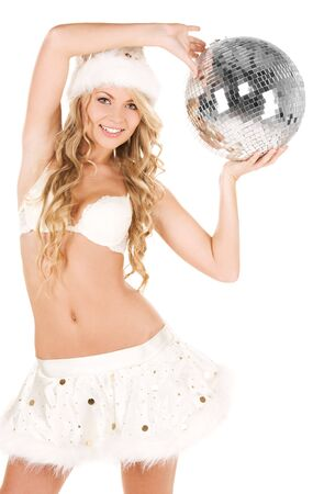 picture of sexy santa helper with disco ball photo