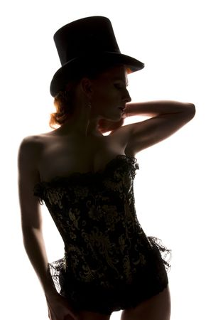 silhouette backlight picture of sexy woman in corset Stock Photo - 5932678