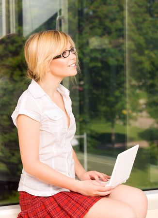 picture of office girl with laptop computer Stock Photo - 5947503