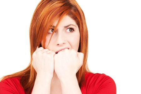 picture of unhappy redhead woman over white Stock Photo - 5947587