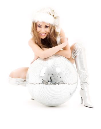 sexy santa helper with big disco ball over white photo