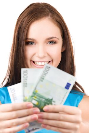 bright picture of lovely teenage girl with money Stock Photo - 5947448