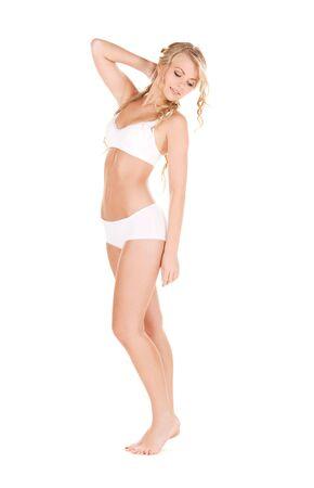 ropa interior ni�as: Foto de mujer encantadora en ropa interior de algod�n blanco