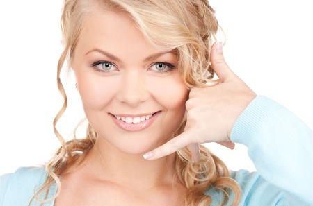 picture of lovely blonde making a call me gesture Stock Photo - 5985014