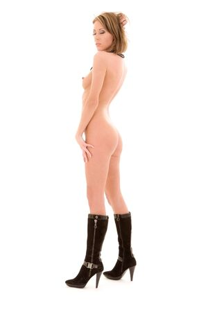 beautiful naked woman in black boots over white Stock Photo - 5985029
