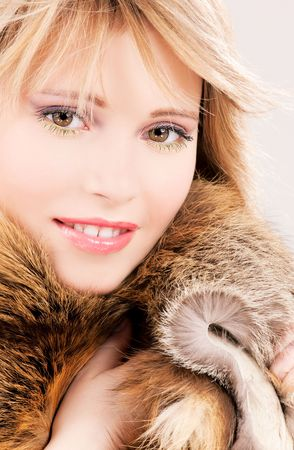 picture of lovely teenage girl in fur Stock Photo - 5985170