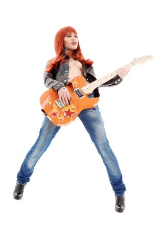 picture of lovely redhead girl with orange guitar Stock Photo - 5985123