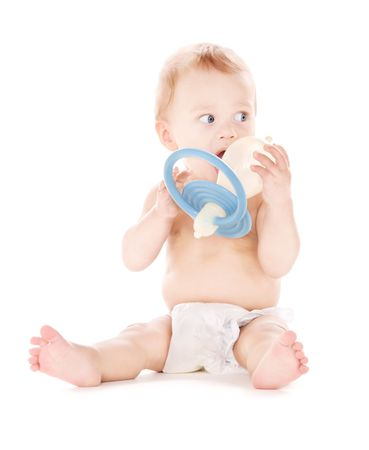picture of baby boy with big pacifier over white photo