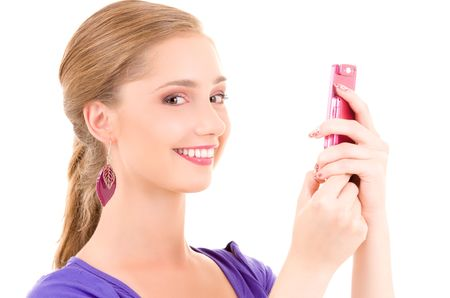 picture of happy teenage girl with cell phone Stock Photo - 6000221