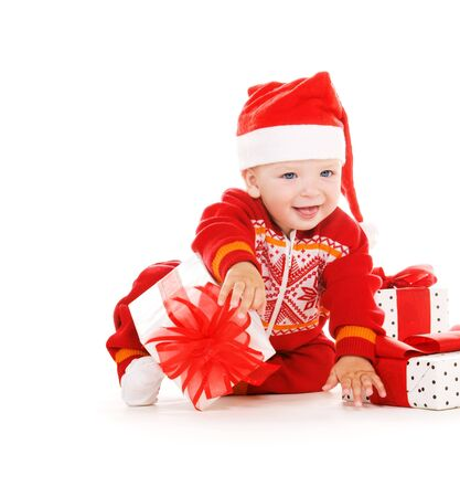 santa helper baby with christmas gifts over white Stock Photo - 6071787